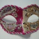 Fushia Pink White Vintage Musica Venetian Small Mardi Gras Masquerade Mask