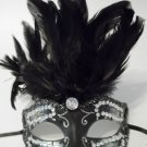 Rhinestone Crystal Black Feather Venetian Mardi Gras Masquerade Prom Ball Mask