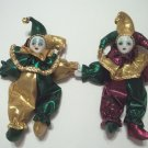 "Mardi Gras Jester Doll 7"" Purple Green Gold Magnet"