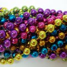 "12 Purple Green Gold Pink Blue Orange Round Mardi Gras Bead Necklaces 48"" 10mm"
