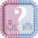 Gender Reveal Party Supplies Girl Boy ? Baby Shower Large Lunch Plates 9""