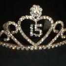 Quinceanera 15 Heart Scroll Silver crystal Tiara