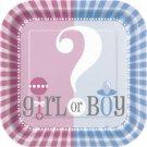 "Gender Reveal Party Supplies Girl Boy ? Baby Shower Cake Dessert Plates 7"""