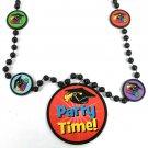 "Party Time! Mortarboard Graduation Mardi Gras Bead Necklace Black 4 ""Grad"" Beads"