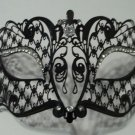 Black Crystal Laser Cut Venetian Mask Masquerade Ball Halloween Metal Filigree