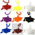 Mortarboard Cap Tassel Graduation Mardi Gras Bead Necklace Choose School Color