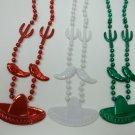 3 Cinco De Mayo Fiesta Sombrero Cactus Chili Pepper Mardi Gras Bead Necklaces