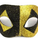 Gold Black Glitter Diamond Wide Masquerade Mask Dance Ball Men