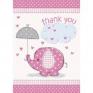 Umbrella Elephant Pink Girl Baby Shower Party Supplies 8 Thank You with envelope