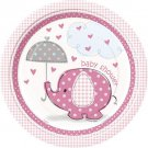 """Umbrella Elephant Pink Girl Baby Shower Party Supplies Dinner Lunch 9"""" Plates"""