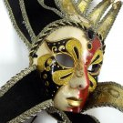Jester Red Black Gold Decorate Or Wear Mardi Gras Masquerade Mask Wall Hang