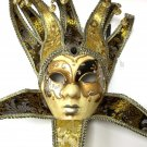 Jester Black Gold Decorate Or Wear Mardi Gras Masquerade Mask Wall Hang