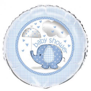 "Umbrella Elephant Blue Boy Baby Shower Party Supplies 1 18"" Mylar Foil Balloon"