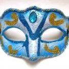Blue Jewel with gold and blue glitter Masquerade Venetian Mardi Gras Ball Mask