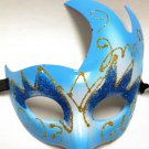 Light Blue Upswept Flame Masquerade Venetian Mardi Gras Ball Mask