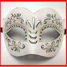 Leather Masquerade Mardi Gras Mask White Tan Gold Halloween Men Male Man