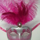 "Hot Pink Silver Venetian Mask Feather Masquerade Mardi Gras 12"""