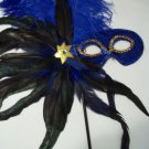 Royal Blue Feather Masquerade Ball Decor Mardi Gras Party Stick Mask