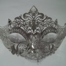 Silver Crystal Crown Laser Cut Venetian Mask Masquerade Metal Filigree