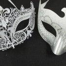 White Crown Laser Venetian Couples Man Woman Masquerade Metal Mask Set