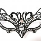 Petite Black Laser Cut Venetian Masquerade Metal Filigree Mask Rhinestones