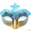 Aqua Blue Gold Scroll Venetian Mask Masquerade Costume Prom Dance Men Woman