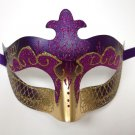 Purple Gold Scroll Venetian Mardi Gras Mask Masquerade Costume Prom Dance
