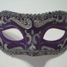 Purple Silver Exquisite Venetian Mardi Gras Masquerade Mask Free Shipping