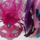 Hot Pink, Pink, Blue, Purple Princess Oval Feather Mardi Gras Masquerade Mask