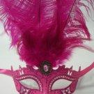 "Crystal Princess Hot Pink Venetian Feather Mardi Gras Masquerade Mask 8"" Oval"