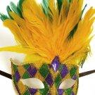 Dark Yellow, Green Feather Mask Masquerade Mardi Gras Colors Purple Gold Green