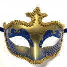 Blue Gold Glitter Venetian Masquerade Costume Mask Halloween New Years Party