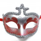 Red Silver Glitter Venetian Masquerade Costume Mask Halloween New Years Party