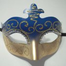 Blue Gold Crystal Scroll Venetian Masquerade Prom Mask