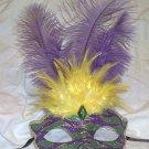 Yellow Purple Wave Feather Masquerade Mardi Gras Mask