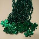 12 Green Shamrock St Patricks Day Mardi Gras Bead Clover 1 Dozen