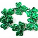 6 Green Shamrock St Patricks Day Mardi Gras Bead Clover 6 Bracelets