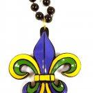 """Purple Green Gold Fleur De Lis 36"""" Resin Bead Mardi Gras Necklace New Orleans"""