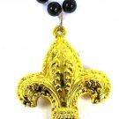 Gold Metallic Fleur De Lis Black Bead Mardi Gras Necklace Saints