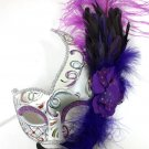 Purple White Fancy Lady Mardi Gras Feather Flower Masquerade Mask