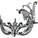 Black BLUE Crystal Butterfly Laser Cut Venetian Mask Masquerade Metal Filigree