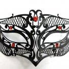 Male Small Black RED Laser Cut Venetian Masquerade Metal Filigree Mask Men Boys