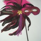 Hot Pink Fushia Feather Masquerade Ball Decor Mardi Gras Party Stick Mask