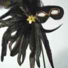 Black Feather Stick Mask Masquerade Ball Mardi Gras Sequin Fabric