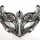 Royal RED Black Laser Cut Venetian Masquerade Metal Filigree Mask Rhinestones