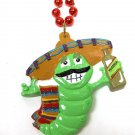 Tequila Green Worm Sombrero Cinco De Mayo Mardi Gras Bead Necklace
