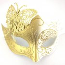 White Gold Butterfly laser cut  Mardi Gras Masquerade Mask Adult