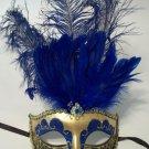 Blue Gold Venetian Feather Mask Mardi Gras Masquerade