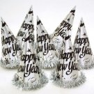 """Silver 9"""" Foil Hat with Tinsel  Metallic Party Supplies New Years Eve"""