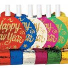 """""""Happy New Year"""" Assorted Colors Metallic New Year Blowouts Party Supplies 6 ct"""